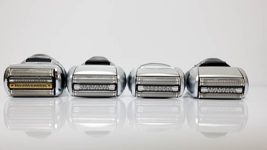 BRAUNシリーズ9、シリーズ8、シリーズ7、シリーズ5のヘッド比較