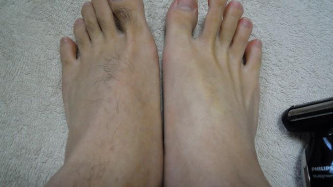 足の甲や指毛も綺麗に処理