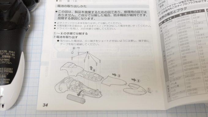 説明書に記載されている分解作業手順